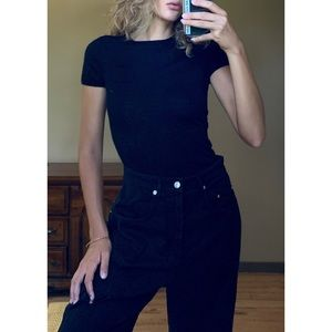 Black cashmere fitted t shirt